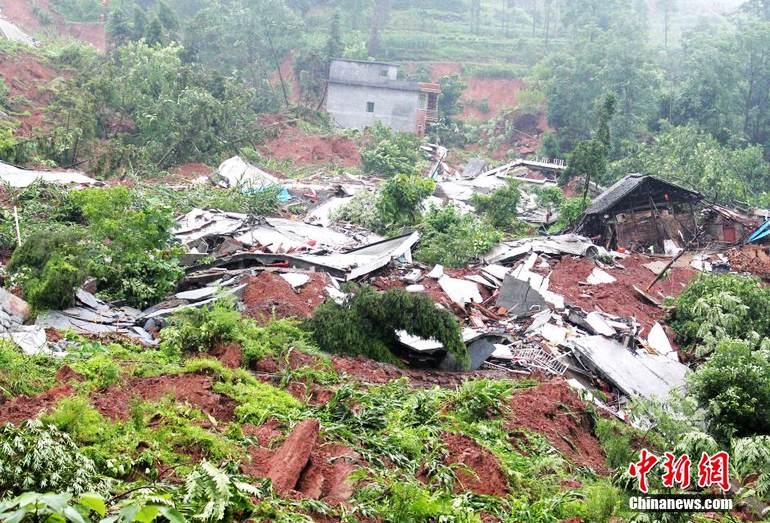 高清 贵州印江发生山体滑坡 百余栋房屋倒塌图片 119214 770x523