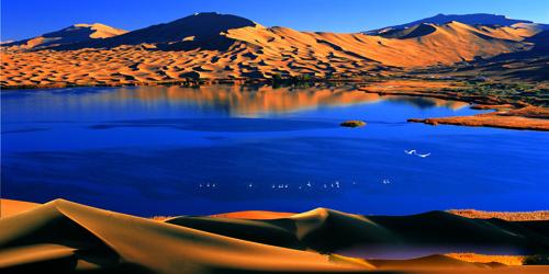 沙漠世界地质公园巴丹吉林沙漠