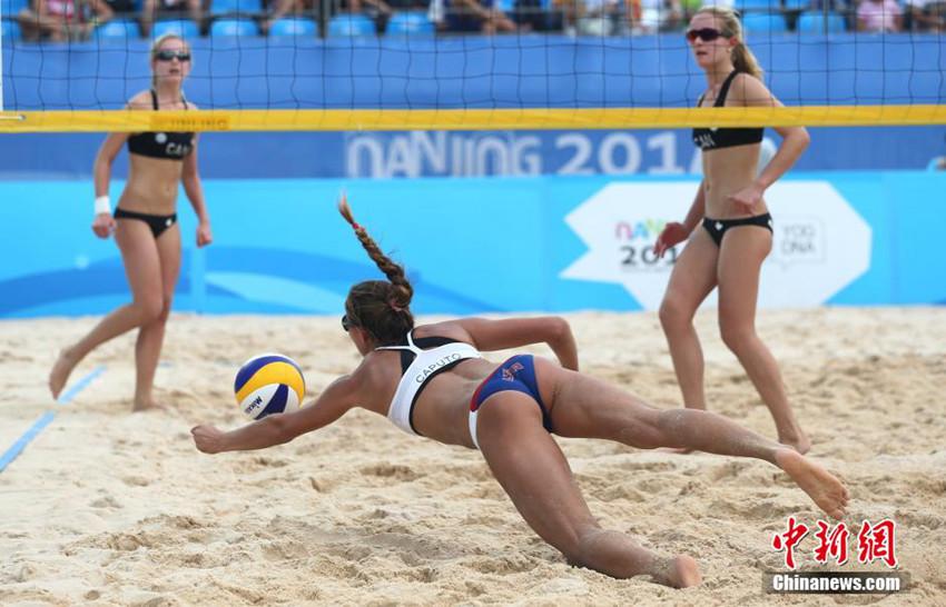 辣对决 青奥会沙滩排球双胞胎姐妹