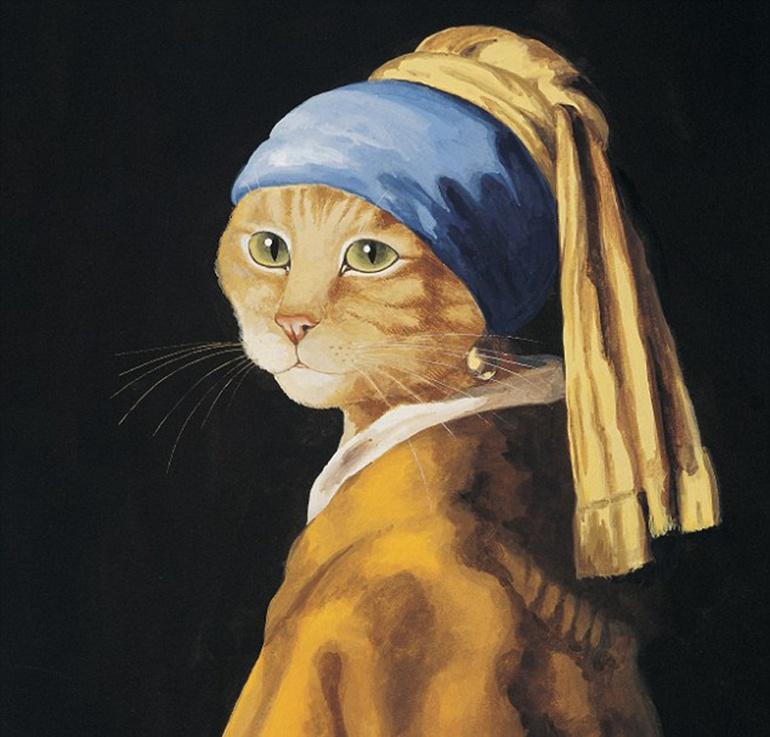 赫伯特翻改荷兰绘画大师杨·维梅尔的代表作《戴珍珠耳环的少女》.图片