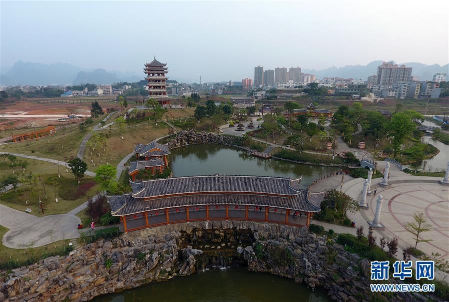这是广西都安瑶族自治县密洛陀文化公园景色(3月15日无人机拍摄)。 新华社记者陆波岸 摄