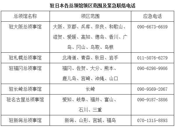 驻日本使馆提醒国庆期间注意事项
