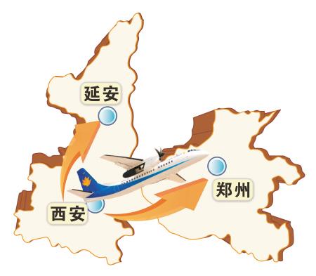 公司西安至延安航线试运营,国产新舟60飞机首次执行了这一航班任务.