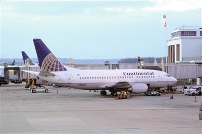 美国大陆航空公司飞机的资料照片.