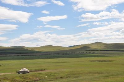 蒙古包水彩风景